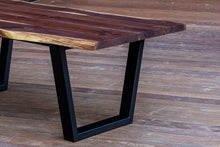 Load image into Gallery viewer, Modern Live Edge Walnut Dining Table with Black Tapered Steel Legs