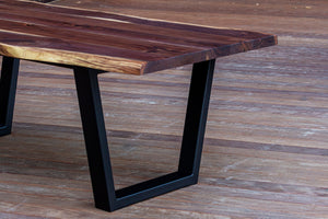 Modern Live Edge Walnut Dining Table with Black Tapered Steel Legs