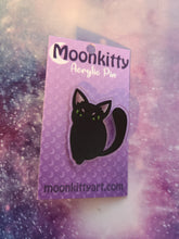Load image into Gallery viewer, Grumpy Black Cat Acrylic Pin w/ FREE Pin Locker