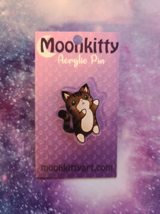 Cute Acrylic Pin - Brown Tabby Cat w/ FREE Pin Locker
