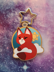 Sun Fox / Kitsune Wooden Eco-Friendly Keychain  (Cherry Veneer)