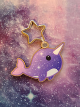 Load image into Gallery viewer, Magical Space Narwhal Wooden Eco-Friendly Keychain - (Cherry Veneer)