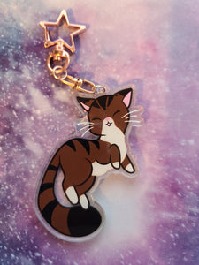 "Brown Tabby Cat Holo Star 3"" Charm - Rose Gold Keychain"