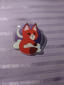Moon Fox / Kitsune Acrylic Pin w/ FREE Pin Locker