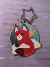 Load image into Gallery viewer, Sun Fox / Kitsune Wooden Eco-Friendly Keychain  (Cherry Veneer)