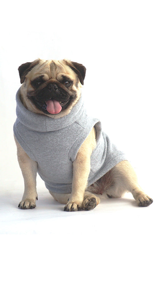 Pug in Grey Polar Vest