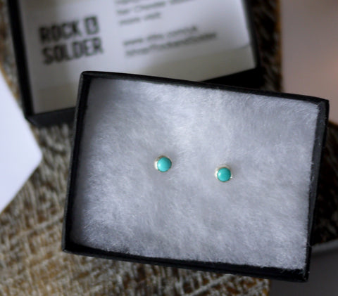 Turquoise Silver Stud Earrings 4mm