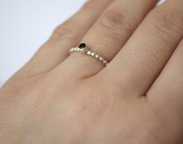 Smokey Quartz Ribbed Stacker Ring
