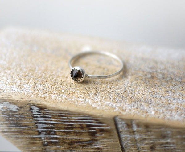 Smokey quartz spike sterling silver ring