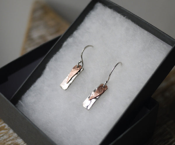 Silver & Copper hammered dangle earrings
