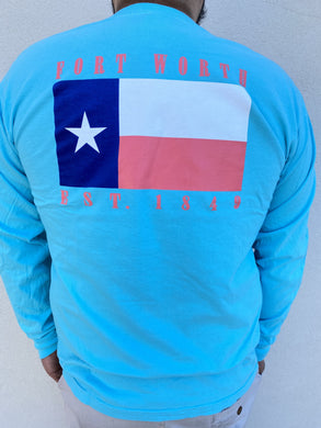 The Fort Clothing Fort Worth Flag Est.1848 Teal/Coral