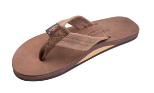"Rainbow Women's Single Layer Arch Support Premier Leather with 1"" Strap Dark Brown"