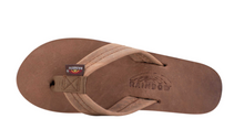 "Load image into Gallery viewer, Rainbow Women's Single Layer Arch Support Premier Leather with 1"" Strap Dark Brown"