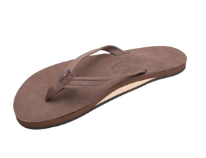 "Rainbow Women's Single Layer Arch Support Premier Leather with a 1/2"" Narrow Strap Dark Brown"
