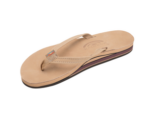 "Rainbow Women's Double Layer Arch Support Premier Leather with a 1/2"" Narrow Strap Sierra Brown"