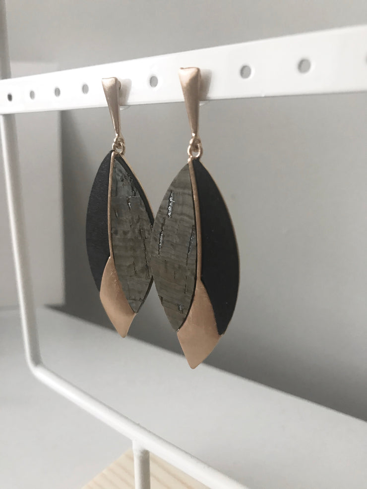 Cork and Gold Wood Earrings | Black/Grey