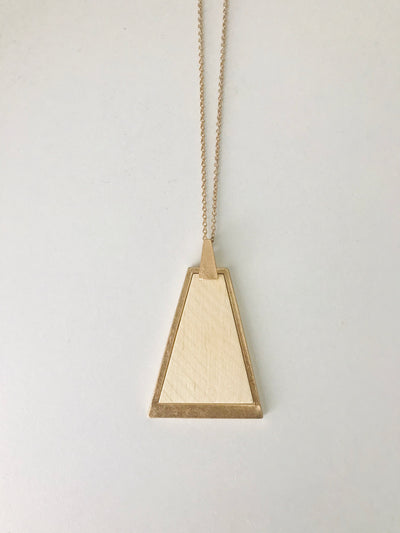 Trapezoid Wood Pendant Necklace | Ivory/Natural