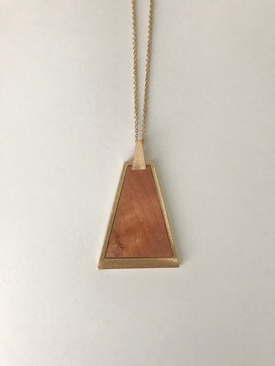 Trapezoid Wood Pendant Necklace | Light Brown