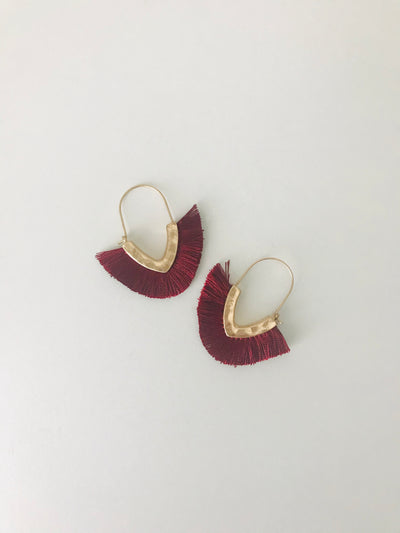 Mini Hammered Fringe Earrings | Burgundy