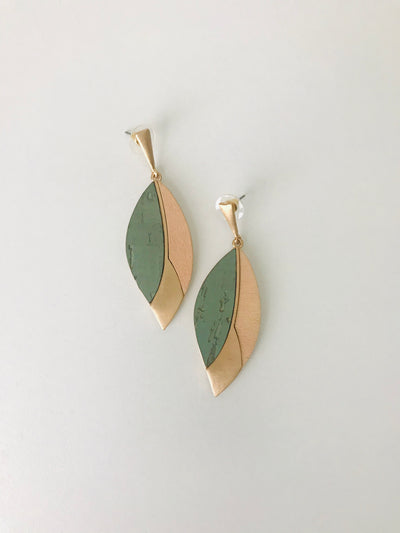Cork and Gold Wood Earrings | Mint