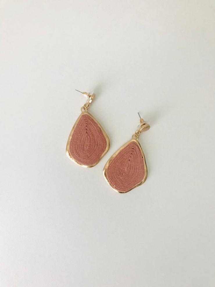 Swirl Cork Teardrop Earrings | Dusty Pink