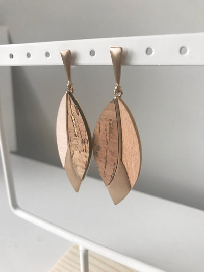Cork and Gold Wood Earrings | Light Brown