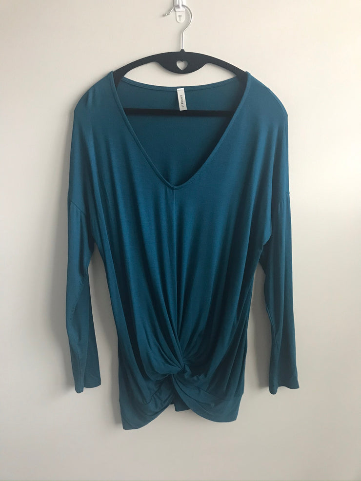 Front Twist Knot, Long Sleeve Blouse | Dark Teal