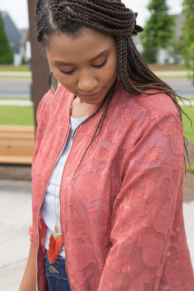Sheer Textured Bomber Jacket | Rosewood