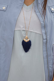 Tassel Pendant Necklace | Navy