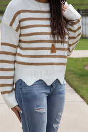 Stripe Sweater with Scallop Hem | Taupe