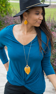 Tassel Pendant Necklace | Mustard