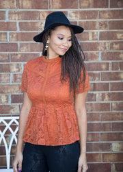 Lace Blouse | Rust