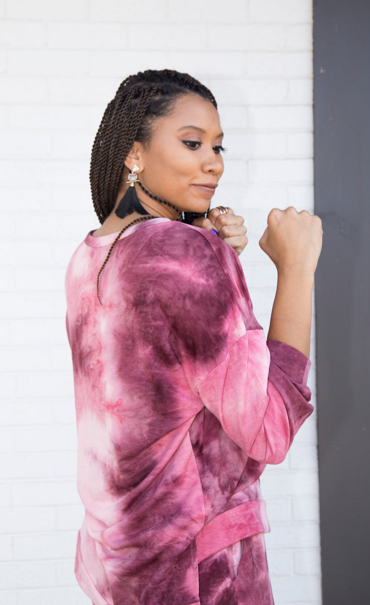 Tie-Dye Lounge Sweater | Mauve