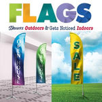 Full Color Flags | Custom Design Flags | Two-Sided Printing Flags Basic Flags 15 ft 1 Side Flags 12 ft 1 Side (Ground Stake Included), Flags - Novo Productions, Novo Productions