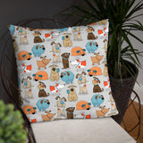 Funny Dogs Grey Premium Pillow
