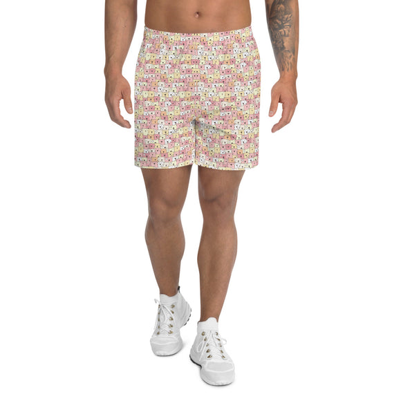 Funny Dogs Men's Athletic Long Shorts For Dog Dads - Pink
