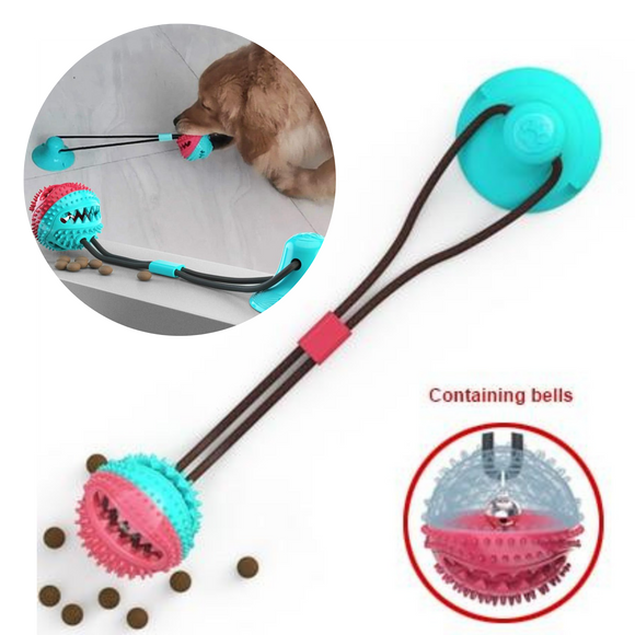 Tug-of-War Silicon Suction Cup Toy For Dogs with Teeth Cleaning Toothbrush, Dog Tug Toy, Dog Toothbrush