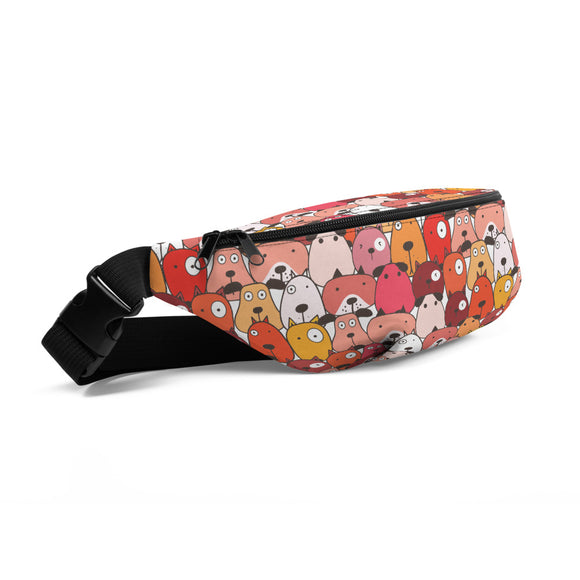 Funny Dogs Red Fanny Pack
