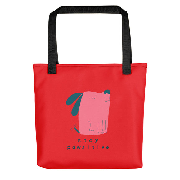 Stay Pawsitive Funny Puppy Tote bags
