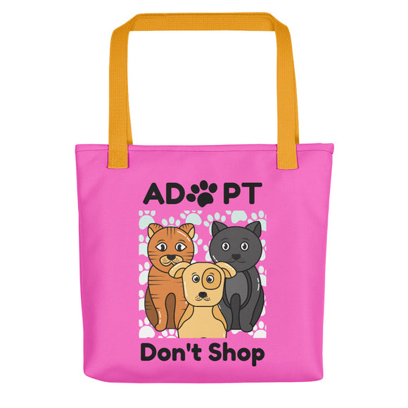 Adopt, Don't Shop Tote Bags - Pink