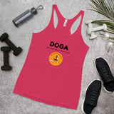 DOGA Dog Mom Who Loves Yoga on Women's Racerback Tank