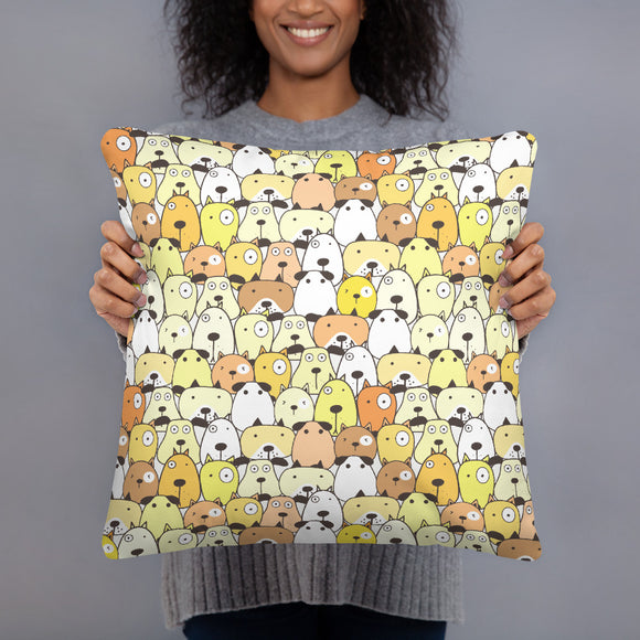 Crazy Dogs Yellow Premium Pillow