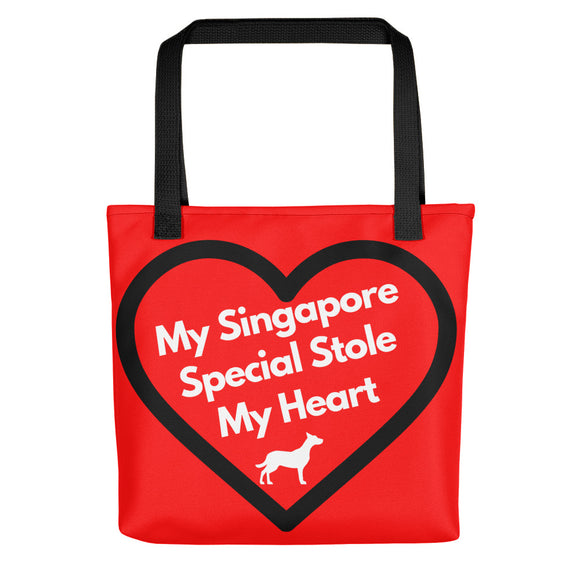 My Singapore Special Stole My Heart, Tote Bags, Red