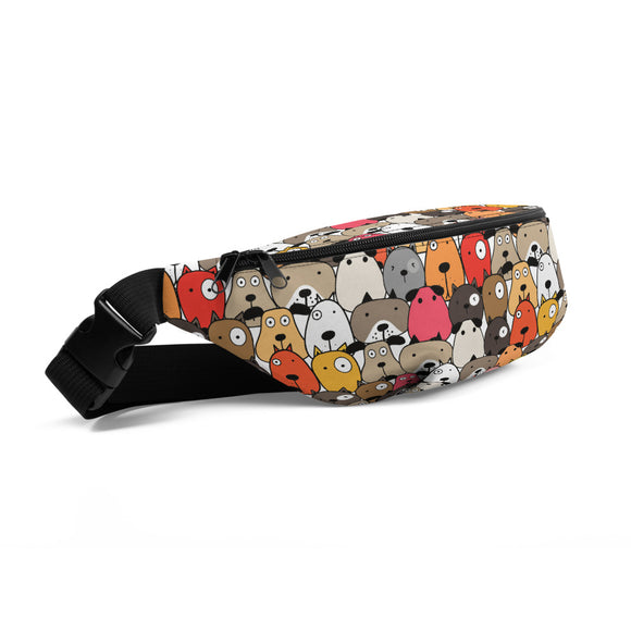 Crazy Eye Dogs Red Fanny Pack