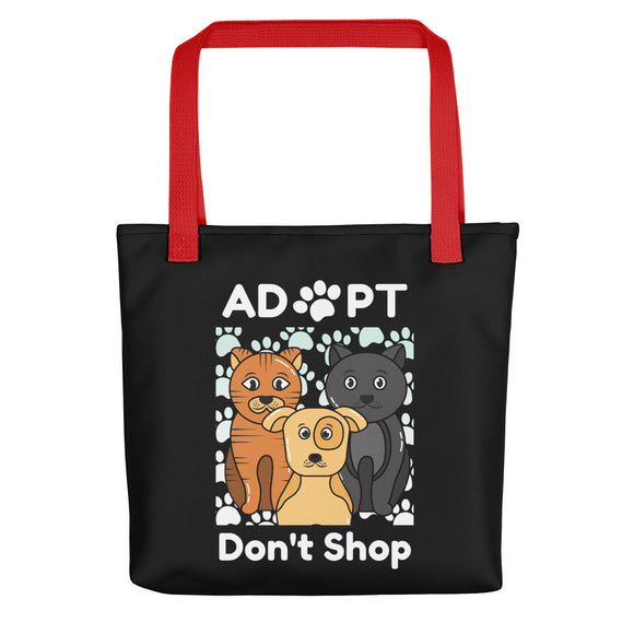 Adopt Don't Shop, Tote Bags - Black