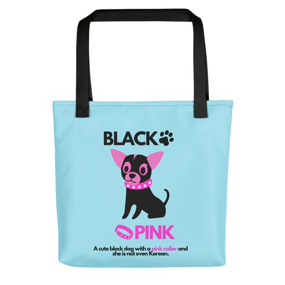 Black Pink Dog, Tote Bags