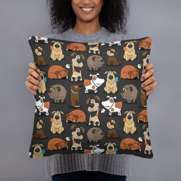 Funny Dogs Black Premium Pillow