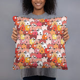 Crazy Dogs Red Premium Pillow