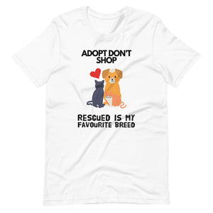Adopt Don't Shop Rescued Is My Favorite Breed, Short-Sleeve Unisex T-Shirt, Pink