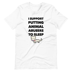Putting Animal Abusers To Sleep on Short-Sleeve Unisex T-Shirt, Green